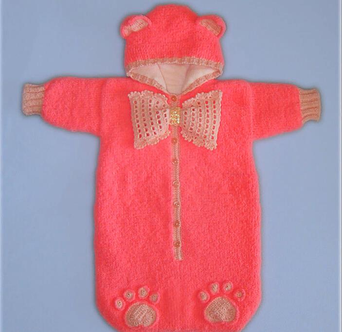 detskii-konvert-svoimi-rukami-dlya-novorozhdennoi-devochki-ot-0-do-3-mesyacev-na-vipisku Конверт для новорожденного зимний: вязание спицами