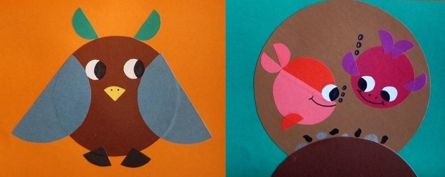 sova-i-ribki Аппликации из цветной бумаги шаблоны распечатать для детей 2-3, 4-5, 6-7 лет. Фото. тема осень, зима, весна