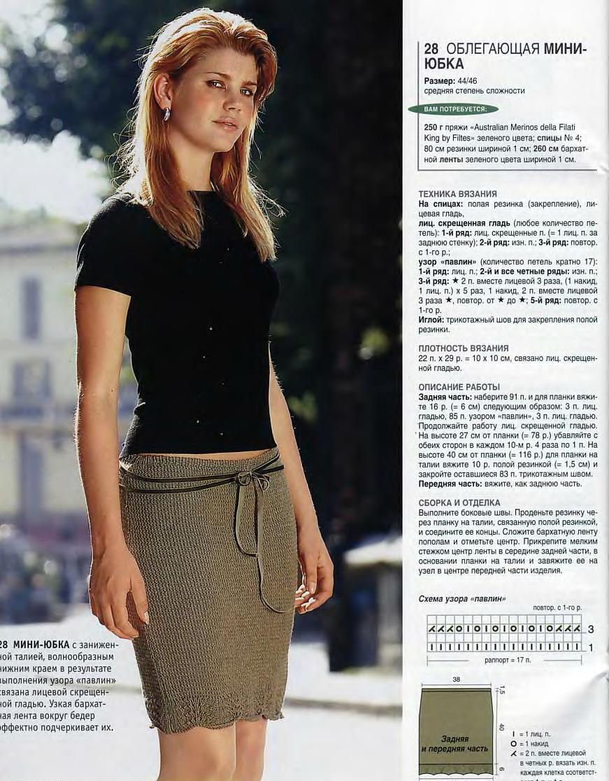 Пышная юбка до колена с ажурным узором спицами