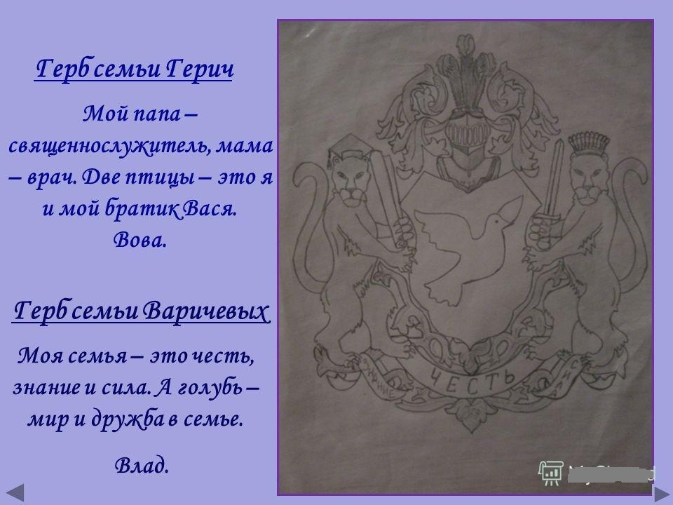 Герб семьи картинка и его описание