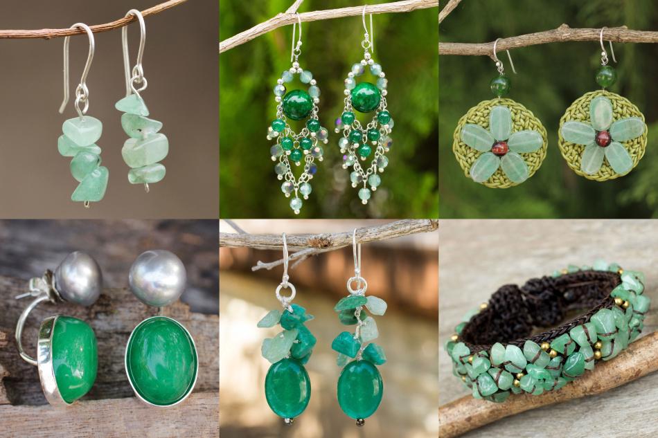 Ювелирные изделия из зеленого кварца