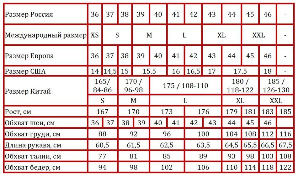 Таблица соответствия размеров мужских рубашек американских, российских,  европейских, китайских и международных на алиэкспресс eb0521fd51c