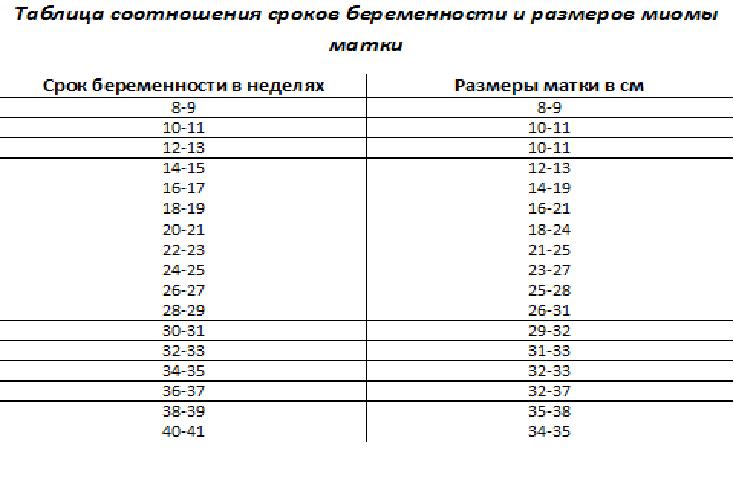 Соотношения размеров миомы матки со сроками беременности