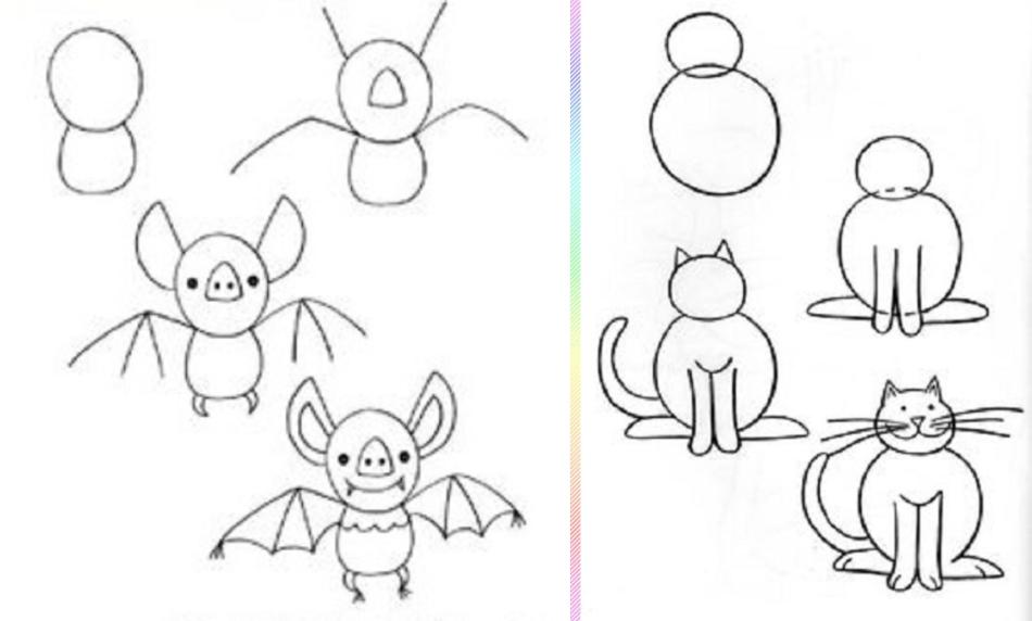 letuchaya-mish-i-koshka-risunok-poyetapno Красивые и легкие рисунки для срисовки карандашом поэтапно для начинающих. Красивые и легкие рисунки по клеточкам для срисовки в тетради и личном дневнике для девочек и мальчиков