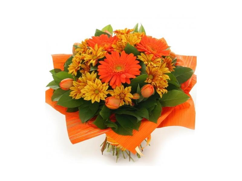 Красоту гербер подчеркнут тюльпаны
