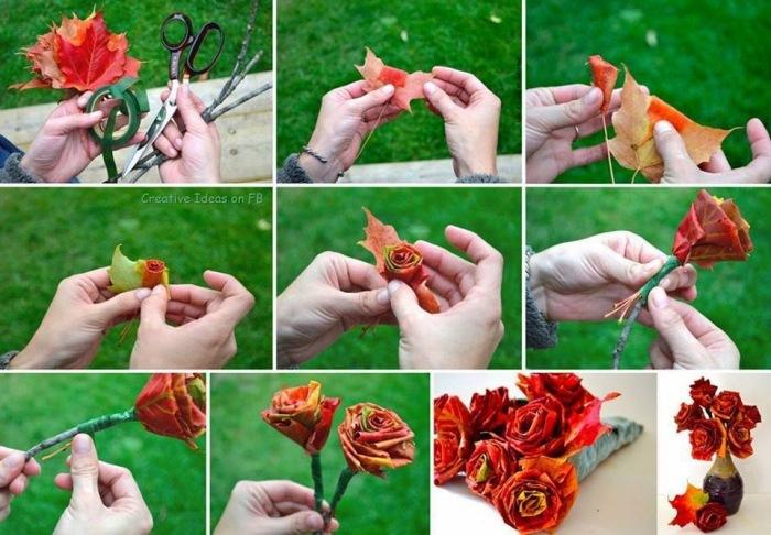 Как сделать из листьев розу фото 76