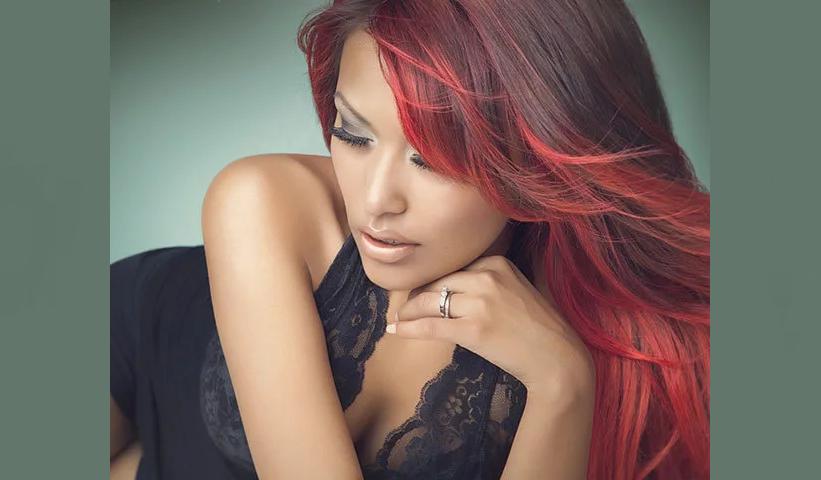 Красный оттенок волос для карих глаз