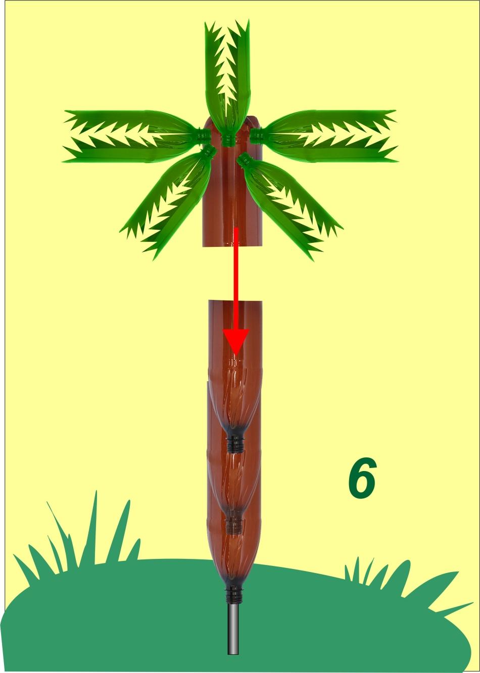 Схема крепления кроны к стволу пальмы из бутылок