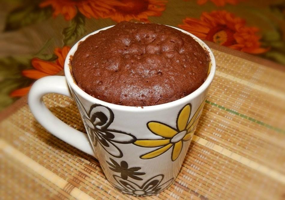 Кекс в чашке из микроволновки.