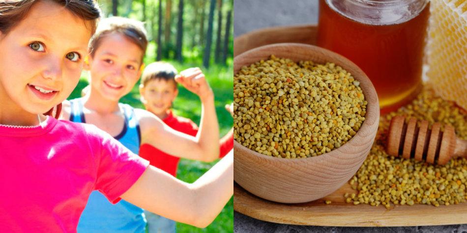 Пчелиная пыльца и родукты пчеловодства полезны детям, у которых на них нет аллергии.