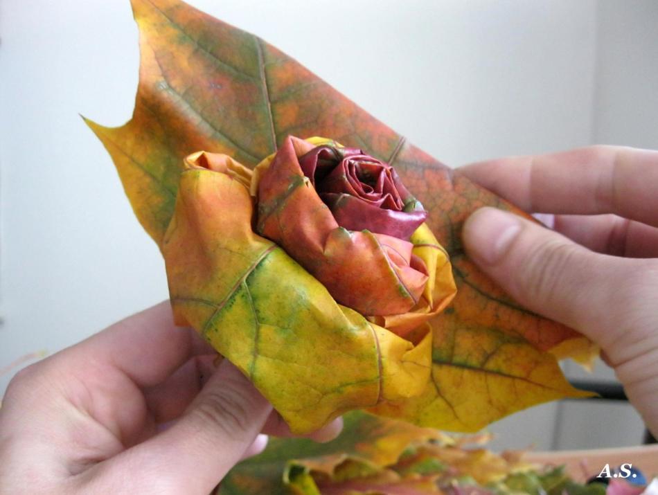 Как сделать из листьев розу фото 987