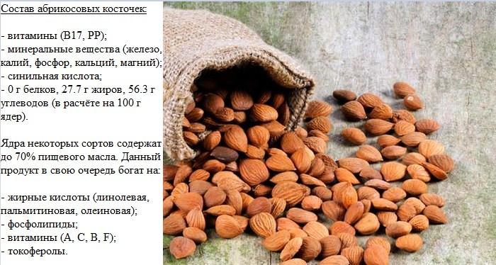 Состав ядер абрикоса