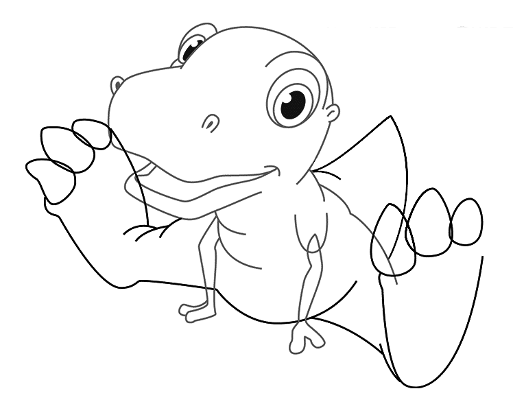 Динозавр тирекс карандашом, шаг 3