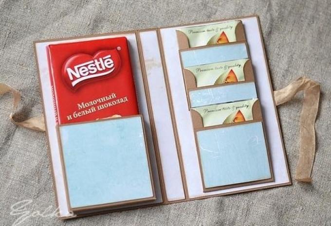 Как упаковать в подарок шоколадку