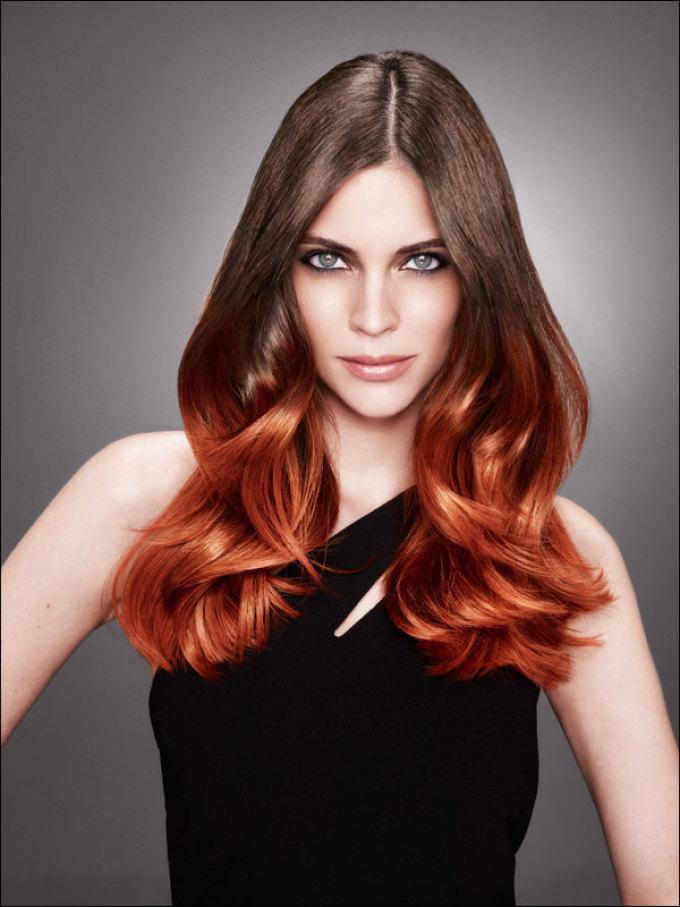Оранжевое омбре на темно-русые волосы