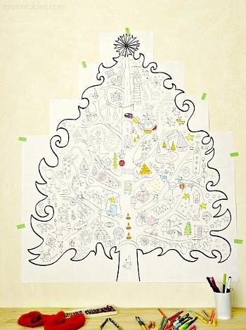 originalnaya-elochka-raskraska-na-stenu Необычная елка своими руками для конкурса для детей в детский сад, школу и для взрослых, на корпоратив: идеи, схемы, описание, фото. Как креативно сделать и назвать поделку — новогоднюю елку на конкурс: идеи, схемы, шаблоны, примеры названий, фото || Необычная новогодняя елка из дерева