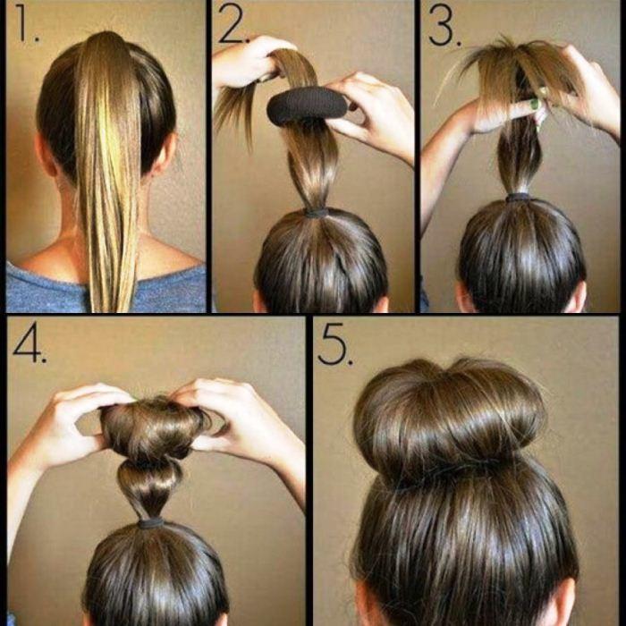 Еще одна схема создания пучка на валик для длинных и средних волос