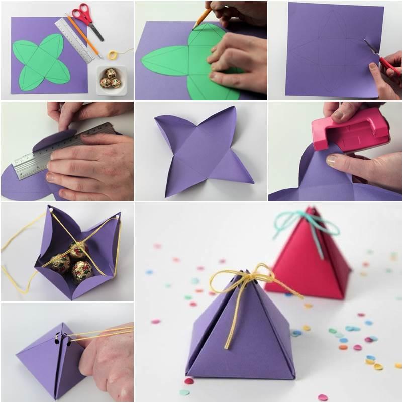 treugolnik Нарядная коробочка для упаковки подарка из подручных материалов
