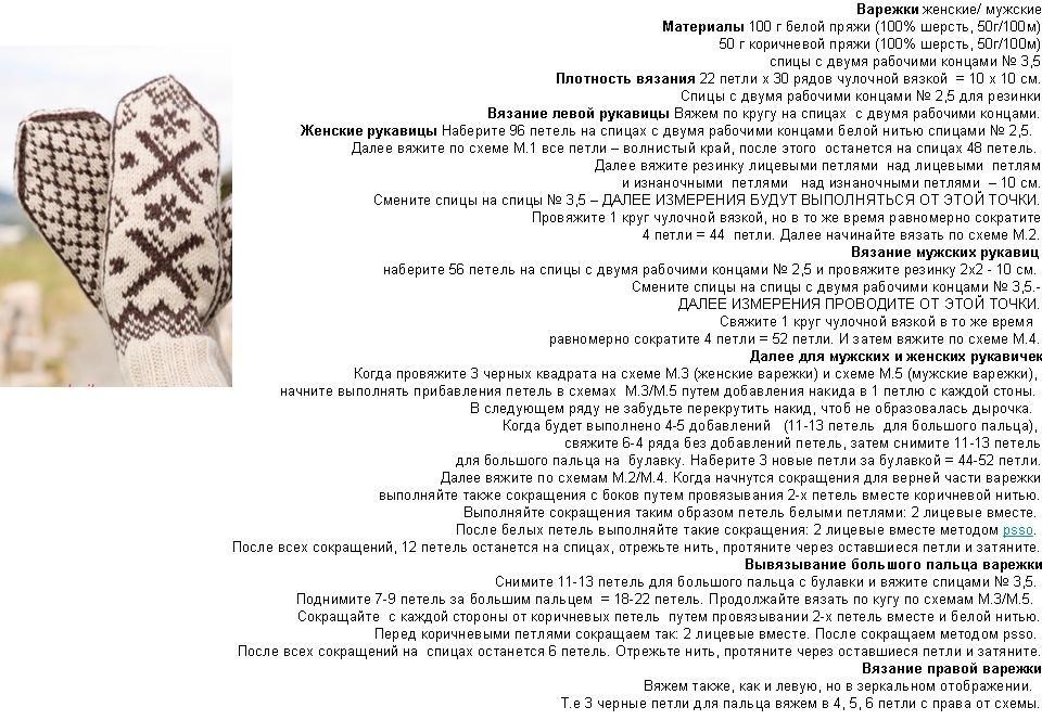 opisanie-vyazaniya-zhenski-h-i-muzhskih-varezhek-s-norvezhskim-uzorom-chast-1 Варежки с откидным верхом крючком и спицами с описанием и видео