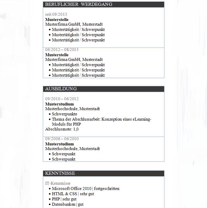 Авторезюме в таблице