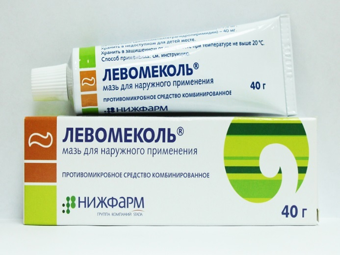 Мазь с антибиотиком левомеколь.
