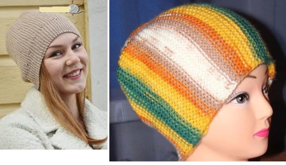 Готовые женские шапки платочной вязкой поперек