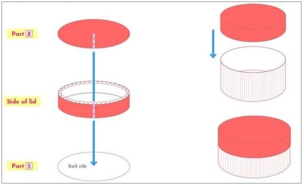 Как сделать круглую коробку из картона схема фото 761
