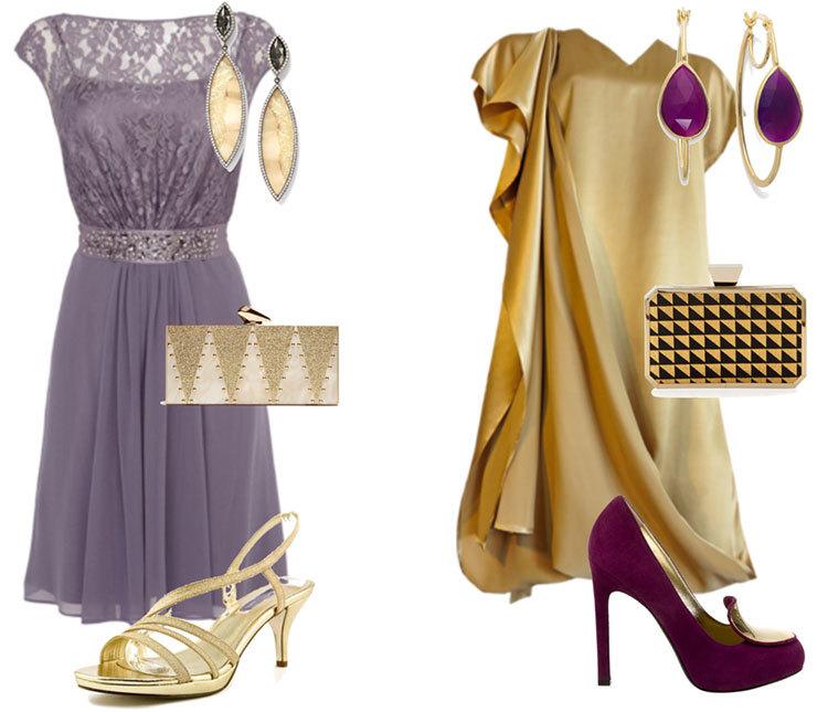 Нарядный образ в золотом и фиолетовом цвете