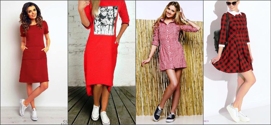 993235902103ec3 Красное платье-майка и платье-рубашка хорошо сочетается со спортивной обувью