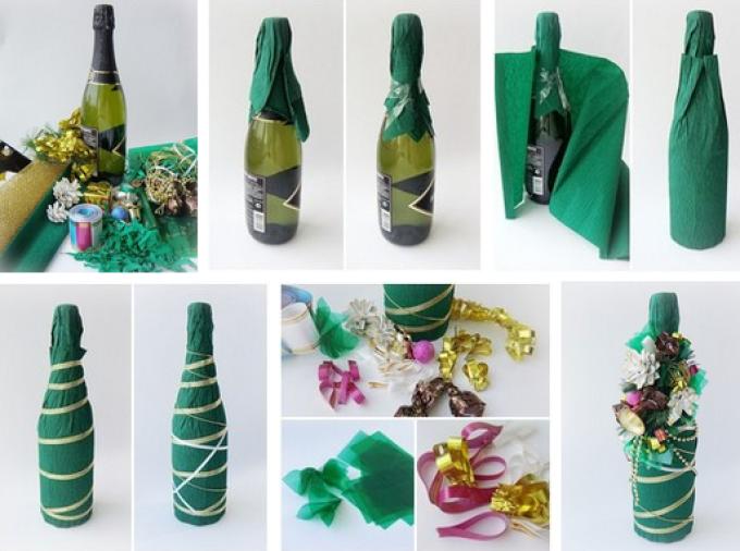 6539bad5db5fc5807deef5f8d91bc814 Декупаж бутылок своими руками: свадебных, на день Рождения, Новый год. Как сделать декупаж свадебных бутылок шампанского и бокалов?
