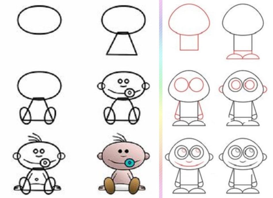malishi-risunok-poyetapno Красивые и легкие рисунки для срисовки карандашом поэтапно для начинающих. Красивые и легкие рисунки по клеточкам для срисовки в тетради и личном дневнике для девочек и мальчиков