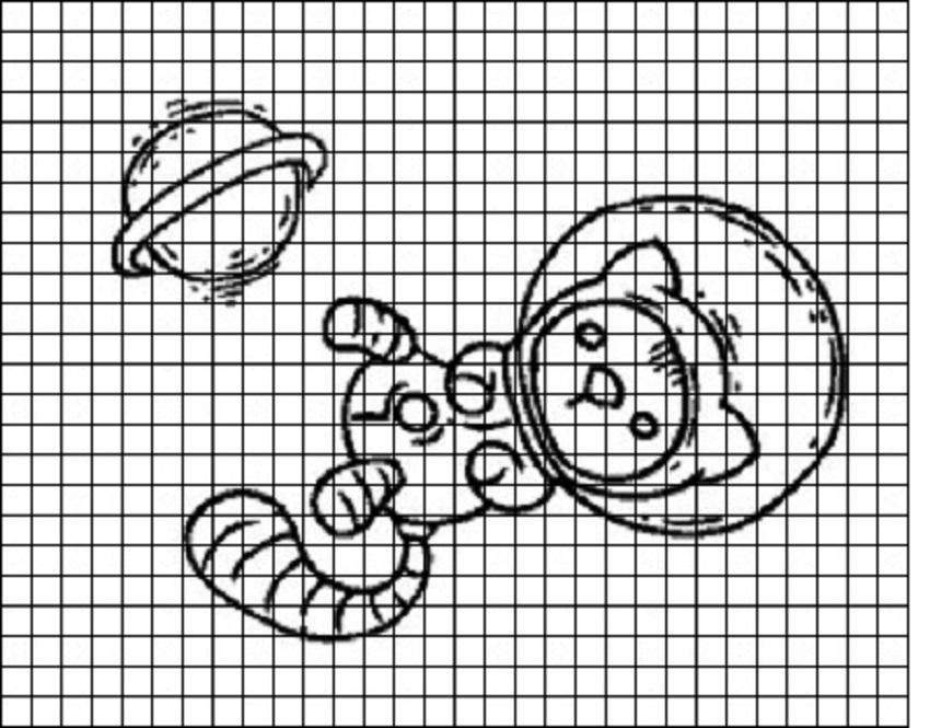 kot-kosmonavt-dlya-srisovivaniya-po-kletochkam Красивые и легкие рисунки для срисовки карандашом поэтапно для начинающих. Красивые и легкие рисунки по клеточкам для срисовки в тетради и личном дневнике для девочек и мальчиков
