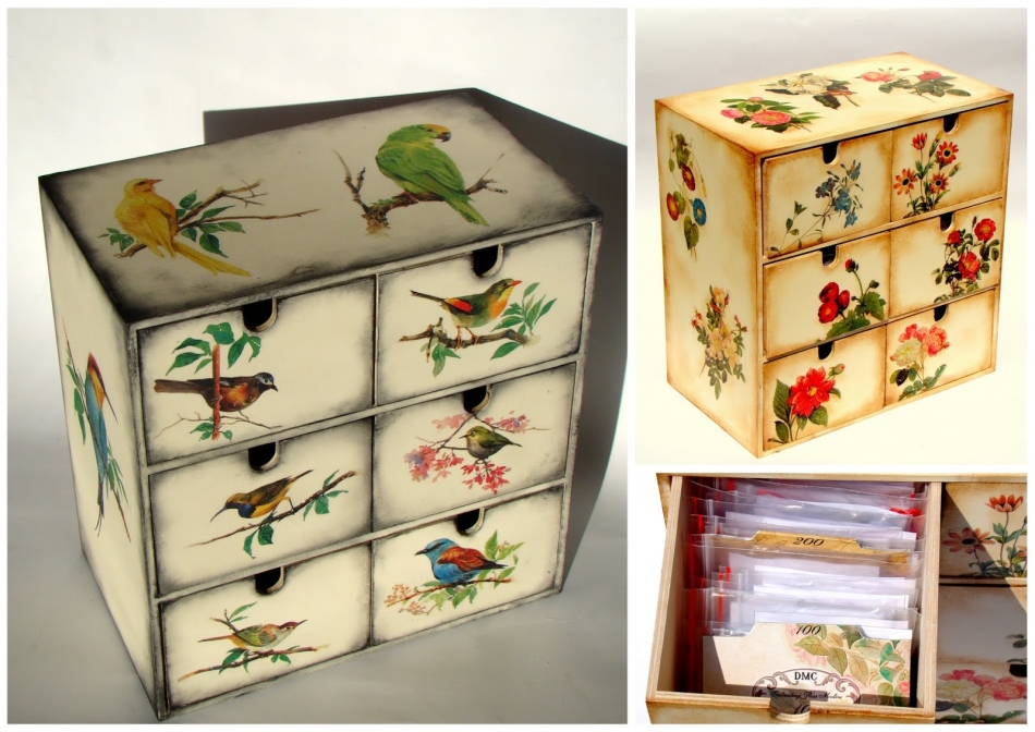 dekupazh-komoda-pticami Декупаж шкафа своими руками в стиле модерн (фото)