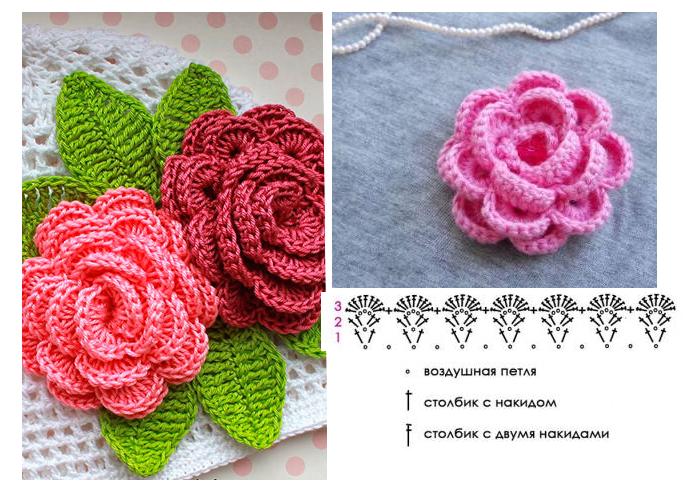 sdelat-rozu-teper-prosto Объемные цветы крючком схемы с описанием, видео как связать объемный цветок