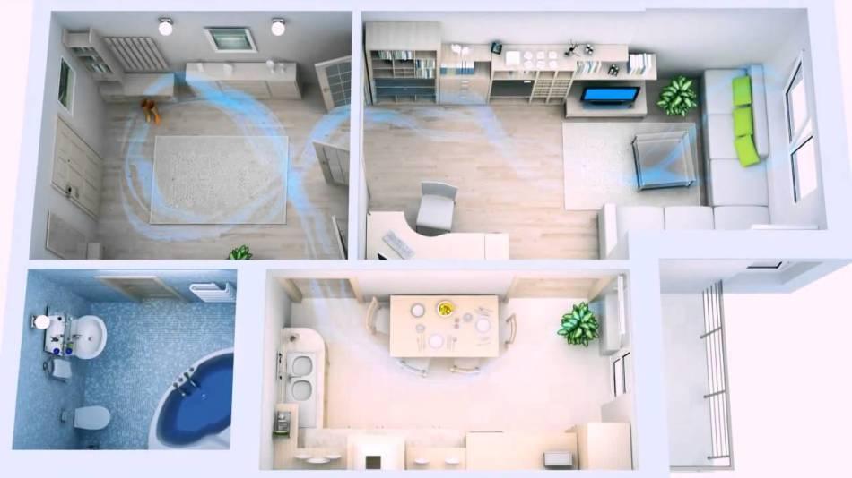 Схема циркуляции воздуха в квартире с климат-контролем