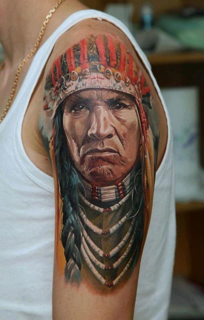 Татуировка-оберег в виде лица индейца
