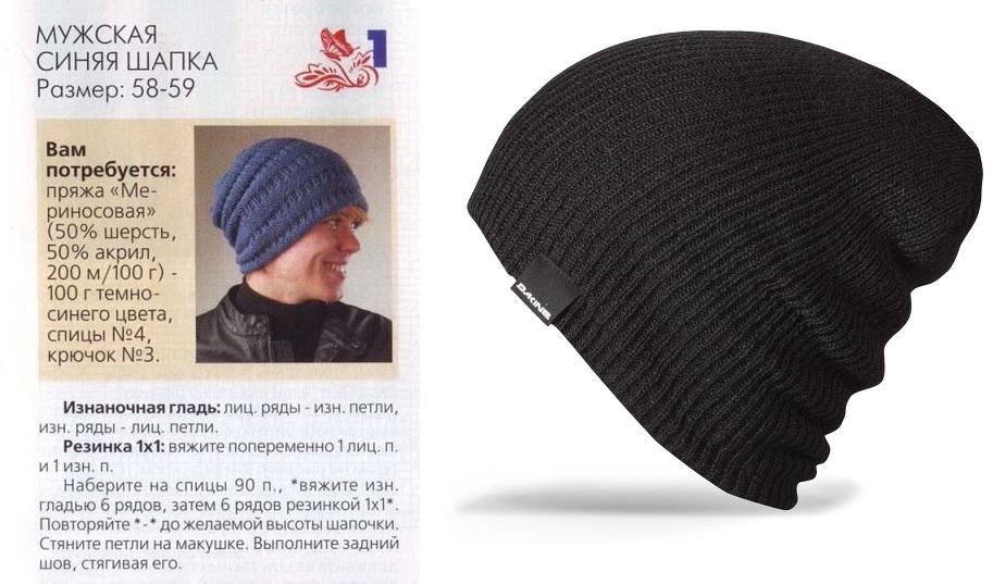 6aae30d8d53033493af88f158cbe5ed3 Простая мужская шапка спицами, схема мужской шапки спицами, пошаговое описание с фото. Мужская шапка спицами для начинающих