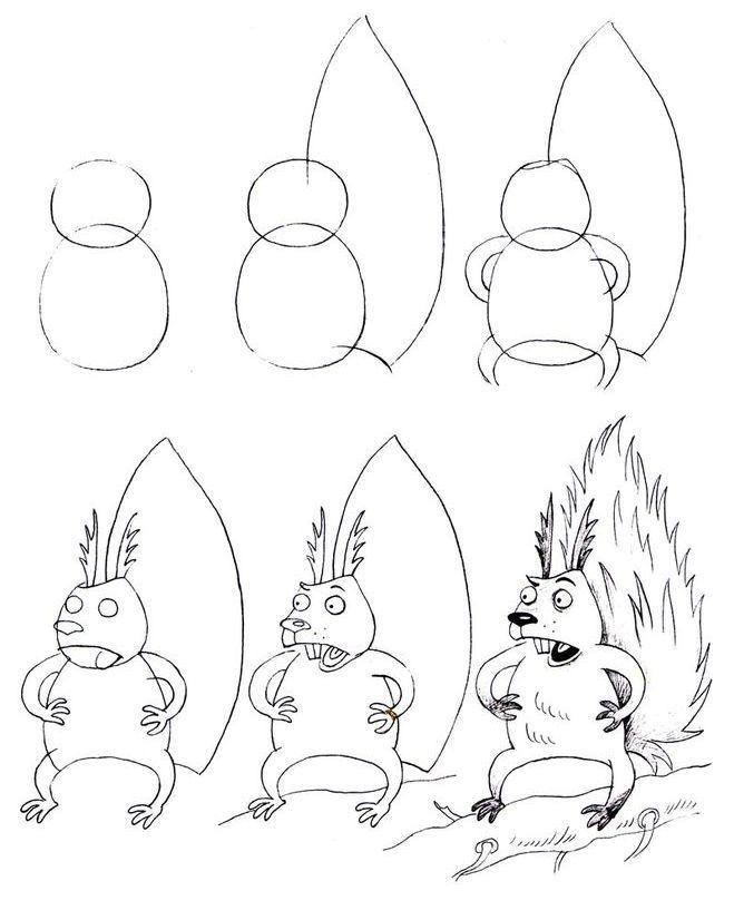 smeshnaya-belka-poshagovo Как нарисовать белку поэтапно карандашом для детей и начинающих? Как нарисовать белку из сказки о царе Салтане и на дереве?