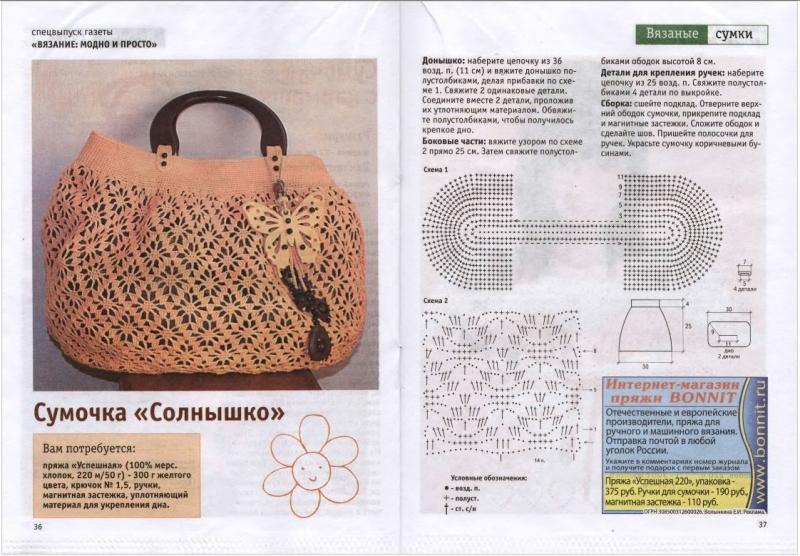 9327354efffe Сумки крючком — схемы и описание: вязание ажурной сумки. Как связать ...