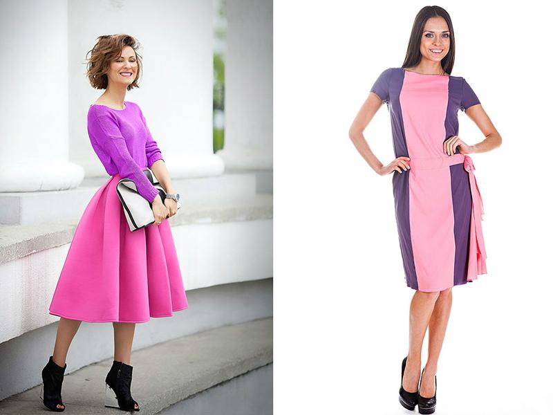 Красивое сочетание розовых и фиолетовых оттенков в одном образе