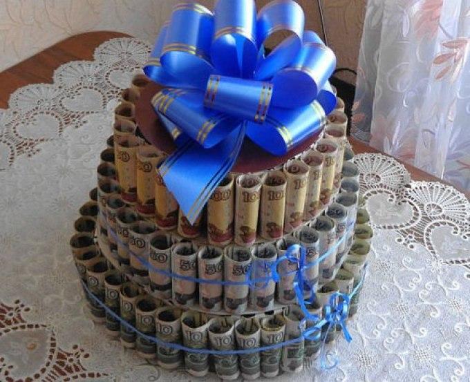Торт из денег пошагово 50 рублей
