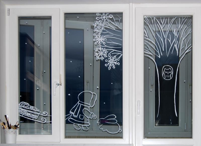 картинки на окна рисовать белой краской год сюда приезжают