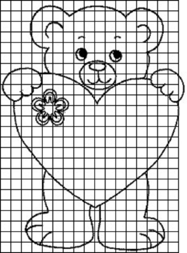 mishka-dlya-dnevnika Красивые и легкие рисунки для срисовки карандашом поэтапно для начинающих. Красивые и легкие рисунки по клеточкам для срисовки в тетради и личном дневнике для девочек и мальчиков