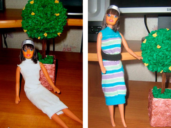 prostie-platya-dlya-kukol-iz-noskov Как сшить одежду для куклы Барби и Монстер Хай своими руками: выкройки, схемы, фото. Как сшить карнавальный костюм для куклы Барби и Монстер Хай своими руками?