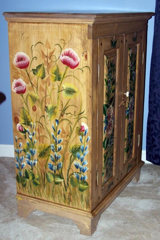 dekupazh-shkafa-akrilovimi-kraskami Декупаж старого шкафа своими руками фото: кухонный мастер-класс, как сделать оформление двери шкафчика