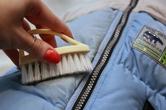 Очистить пятна с пуховика