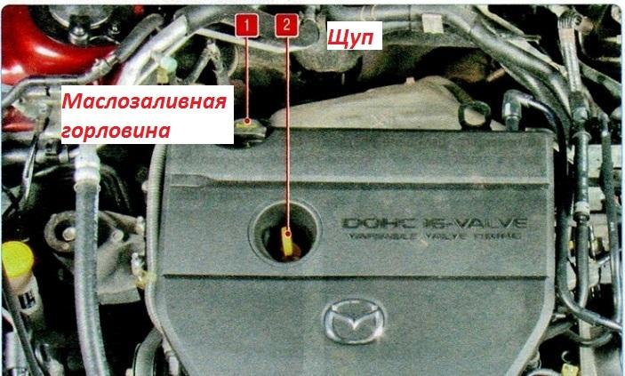 Расположение щупа масляной жидкости в авто мазда