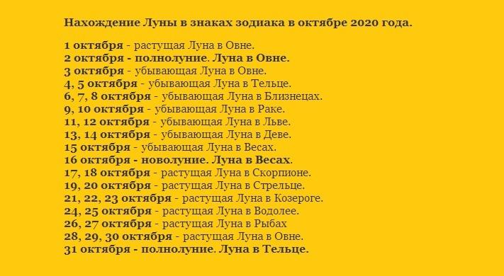 Лунный календарь 2020 года на октябрь