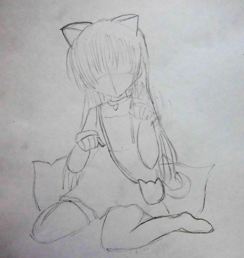 Днем, рисунки аниме девочек кошек карандашом красивые и оригинальные полностью