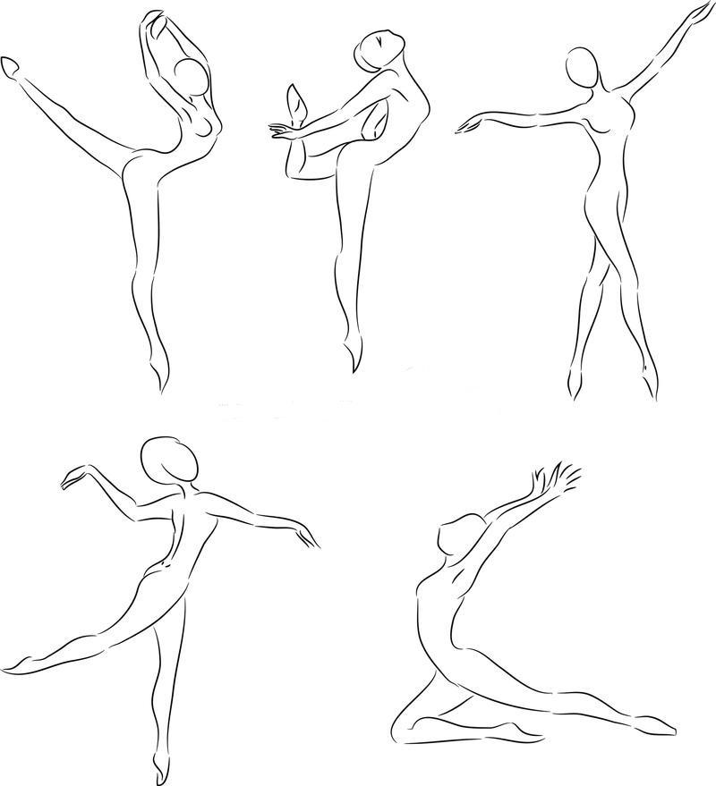 Трафареты балерин для вырезания и приклеивания, пример 1